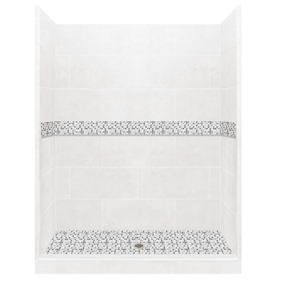 American Bath Factory Laguna Light with Laguna Mosaic Tiles Solid Surface Wall Stone Composite Floor 10-Piece Alcove Shower Kit (Common: 36-in x 54-in; Actual: 80-in X