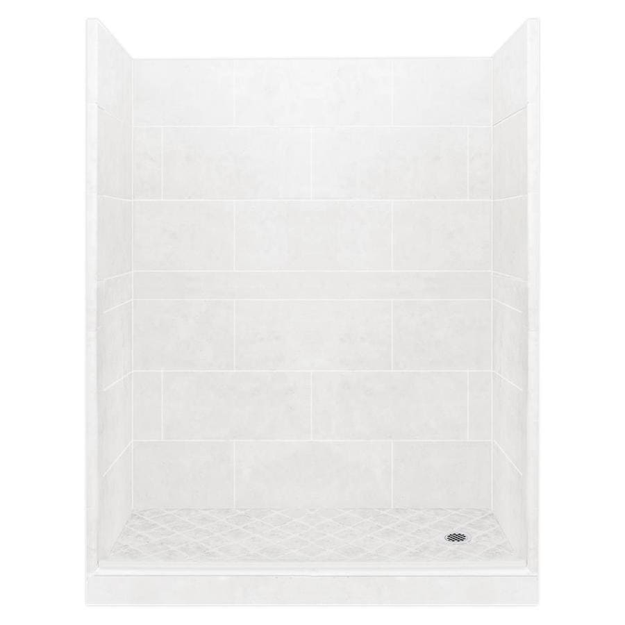 American Bath Factory Monterey Light Solid Surface Wall Stone Composite Floor 10-Piece Alcove Shower Kit (Common: 32-in x 60-in; Actual: 80-in X