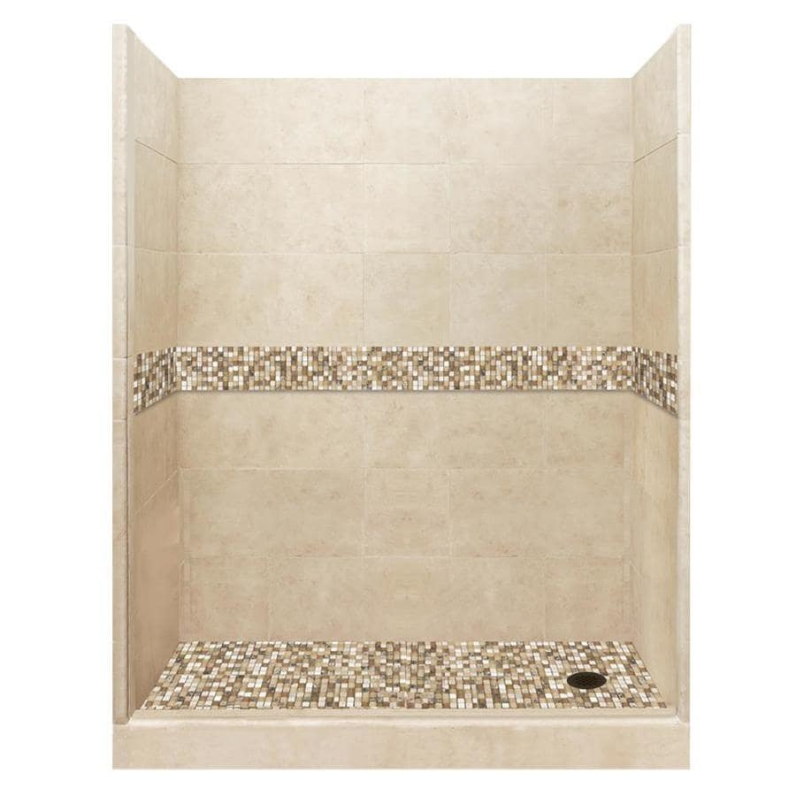 American Bath Factory Mesa Medium with Mesa Mosaic Tiles Solid Surface Wall Stone Composite Floor 10-Piece Alcove Shower Kit (Common: 34-in x 60-in; Actual: 80-in X