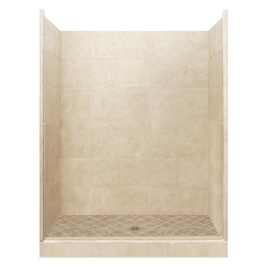 American Bath Factory Sonoma Medium Solid Surface Wall Stone Composite Floor 10-Piece Alcove Shower Kit (Common: 36-in x 60-in; Actual: 80-in X