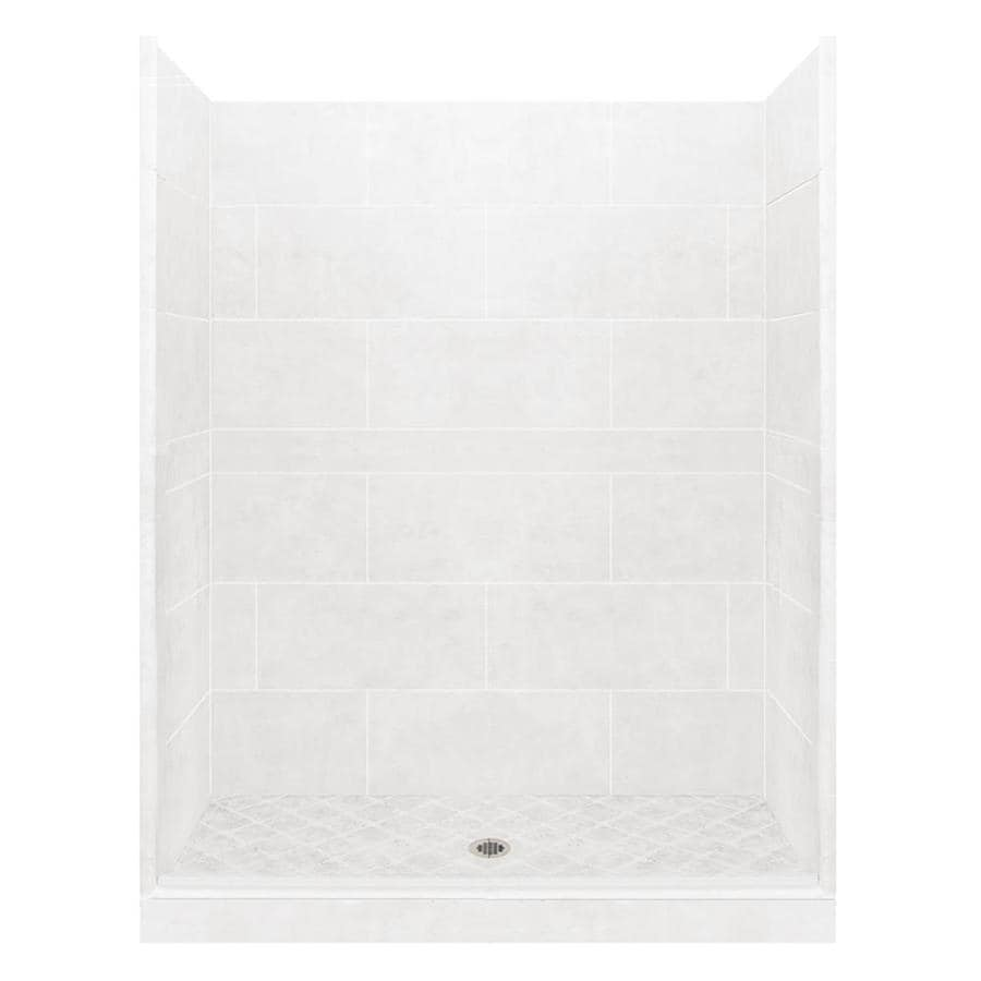 American Bath Factory Monterey Light Solid Surface Wall Stone Composite Floor 10-Piece Alcove Shower Kit (Common: 36-in x 60-in; Actual: 80-in X