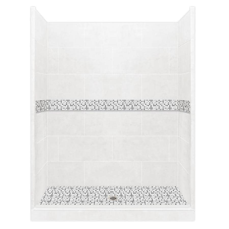 American Bath Factory Laguna Light with Laguna Mosaic Tiles Solid Surface Wall Stone Composite Floor 10-Piece Alcove Shower Kit (Common: 42-in x 60-in; Actual: 80-in X