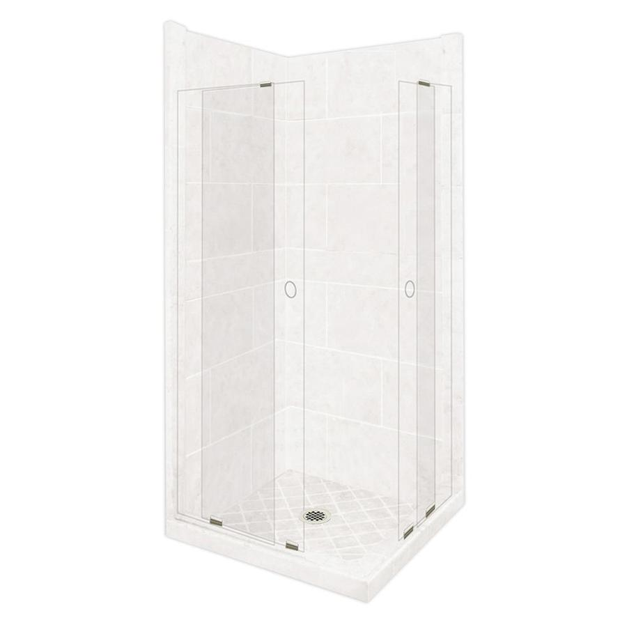 American Bath Factory Monterey Light Sistine Stone Wall Stone Composite Floor Rectangle 11-Piece Corner Shower Kit (Actual: 80-in x 38-in x 38-in)