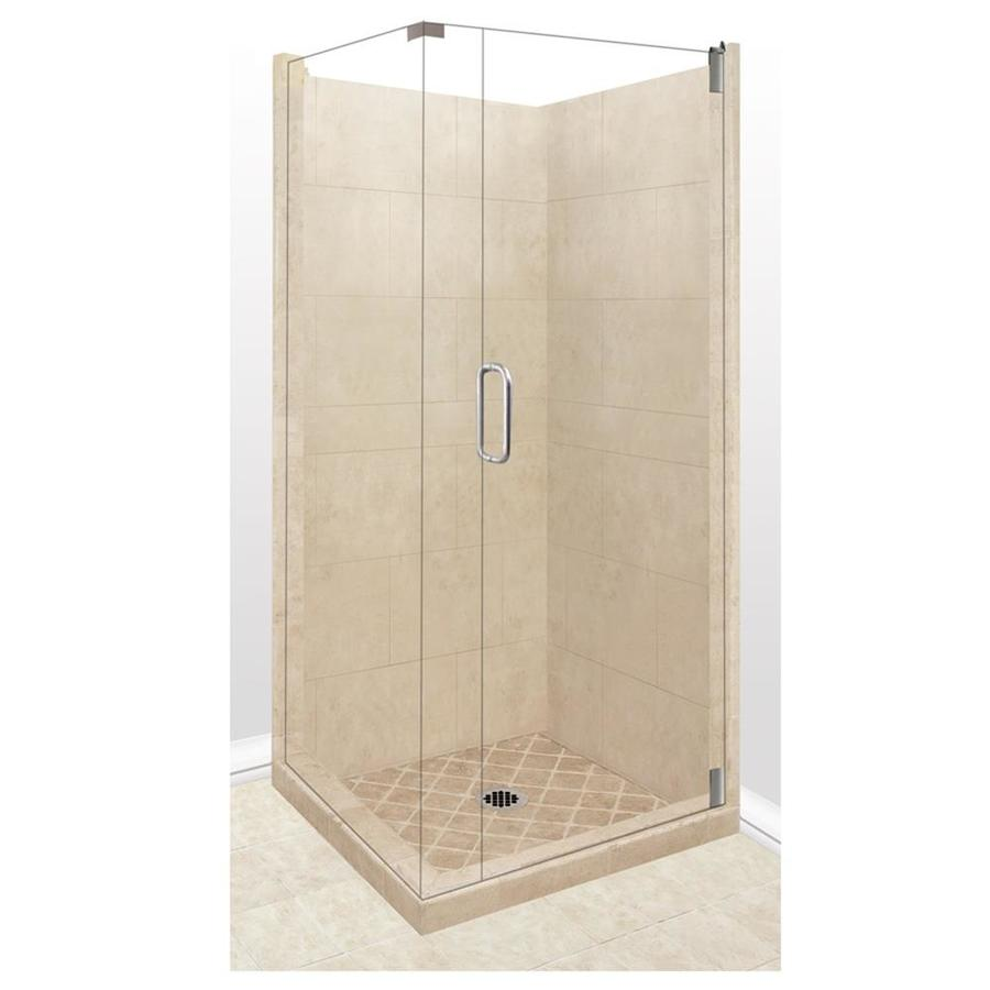 American Bath Factory Sonoma Medium Sistine Stone Wall Stone Composite Floor Rectangle 10-Piece Corner Shower Kit (Actual: 80-in x 42-in x 42-in)