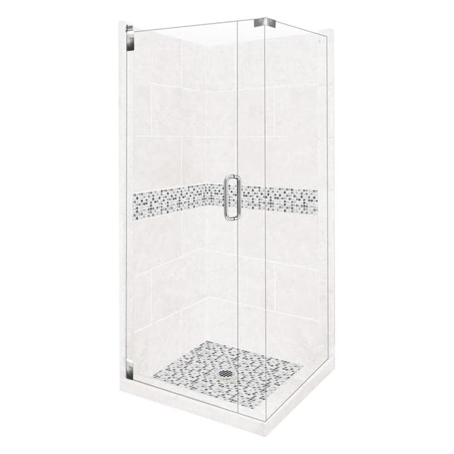 American Bath Factory Laguna Light with Laguna Mosaic Tiles Sistine Stone Wall Stone Composite Floor Rectangle 10-Piece Corner Shower Kit (Actual: 80-in x 42-in x 42-in)