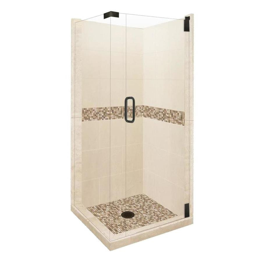American Bath Factory Mesa Medium with Mesa Mosaic Tiles Sistine Stone Wall Stone Composite Floor Rectangle 10-Piece Corner Shower Kit (Actual: 80-in x 42-in x 42-in)