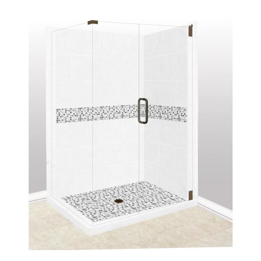 American Bath Factory Laguna Light with Laguna Mosaic Tiles Sistine Stone Wall Stone Composite Floor Rectangle 10-Piece Corner Shower Kit (Actual: 80-in x 36-in x 48-in)
