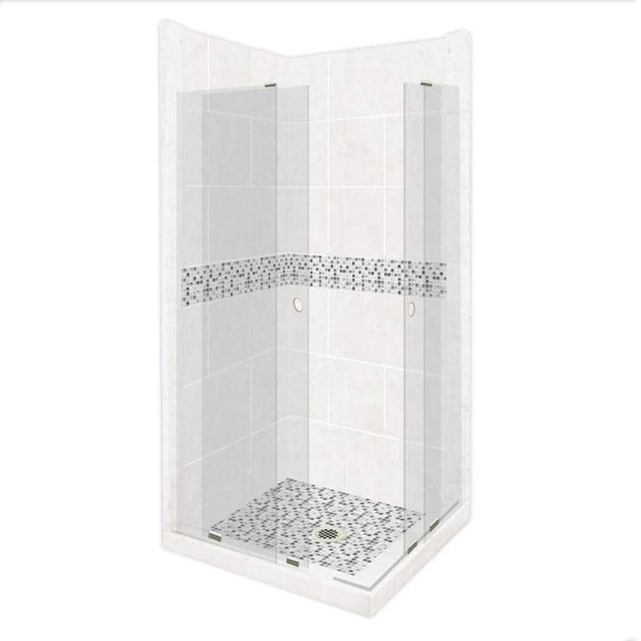 American Bath Factory Laguna Light with Laguna Mosaic Tiles Sistine Stone Wall Stone Composite Floor Rectangle 11-Piece Corner Shower Kit (Actual: 80-in x 36-in x 36-in)