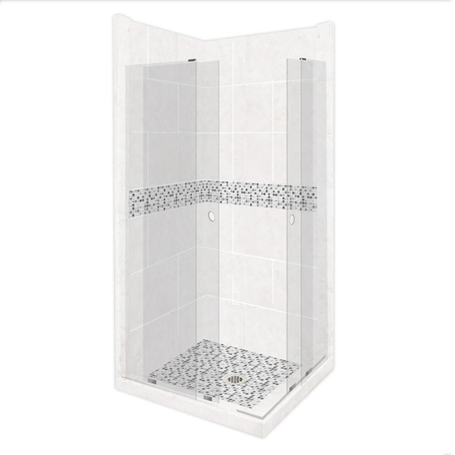 American Bath Factory Laguna Light with Laguna Mosaic Tiles Sistine Stone Wall Stone Composite Floor Rectangle 11-Piece Corner Shower Kit (Actual: 80-in x 36-in x 42-in)