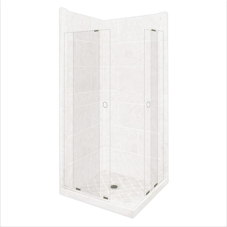 American Bath Factory Monterey Light Sistine Stone Wall Stone Composite Floor Rectangle 11-Piece Corner Shower Kit (Actual: 80-in x 42-in x 48-in)