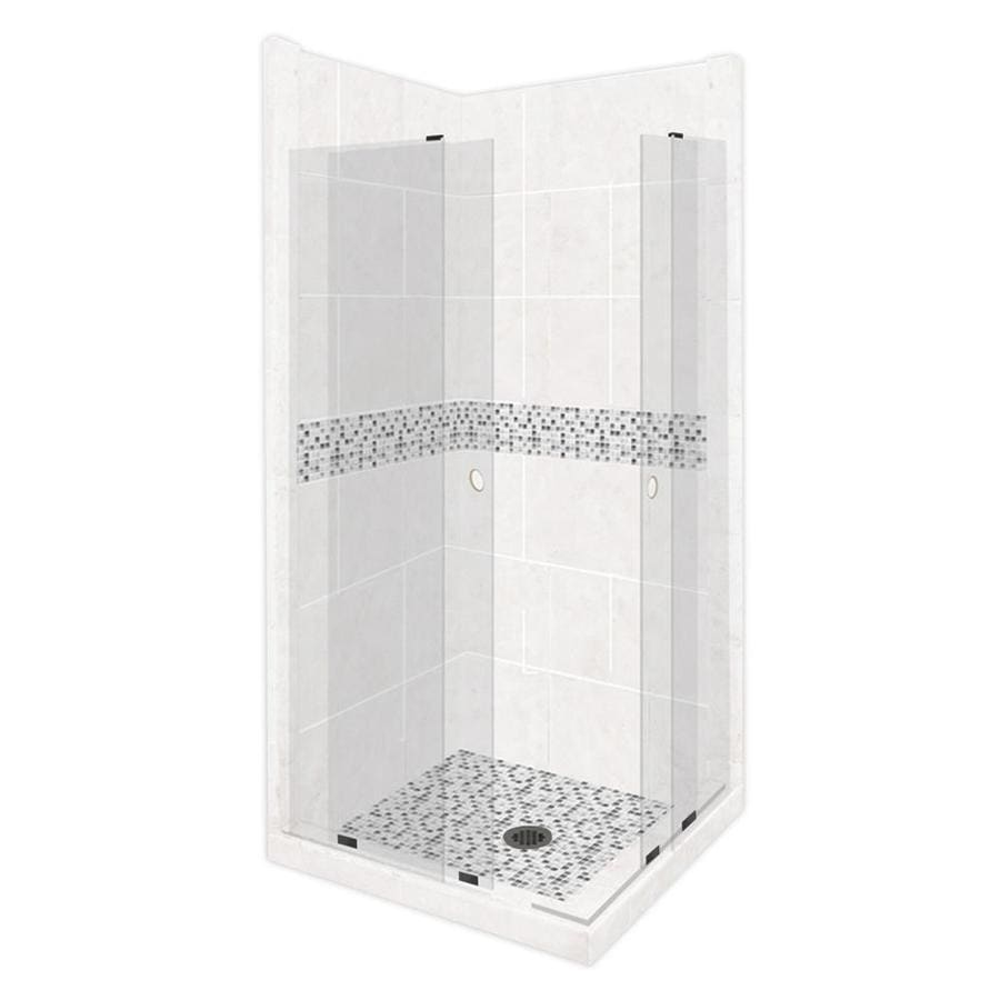 American Bath Factory Laguna Light with Laguna Mosaic Tiles Sistine Stone Wall Stone Composite Floor Rectangle 11-Piece Corner Shower Kit (Actual: 80-in x 42-in x 48-in)