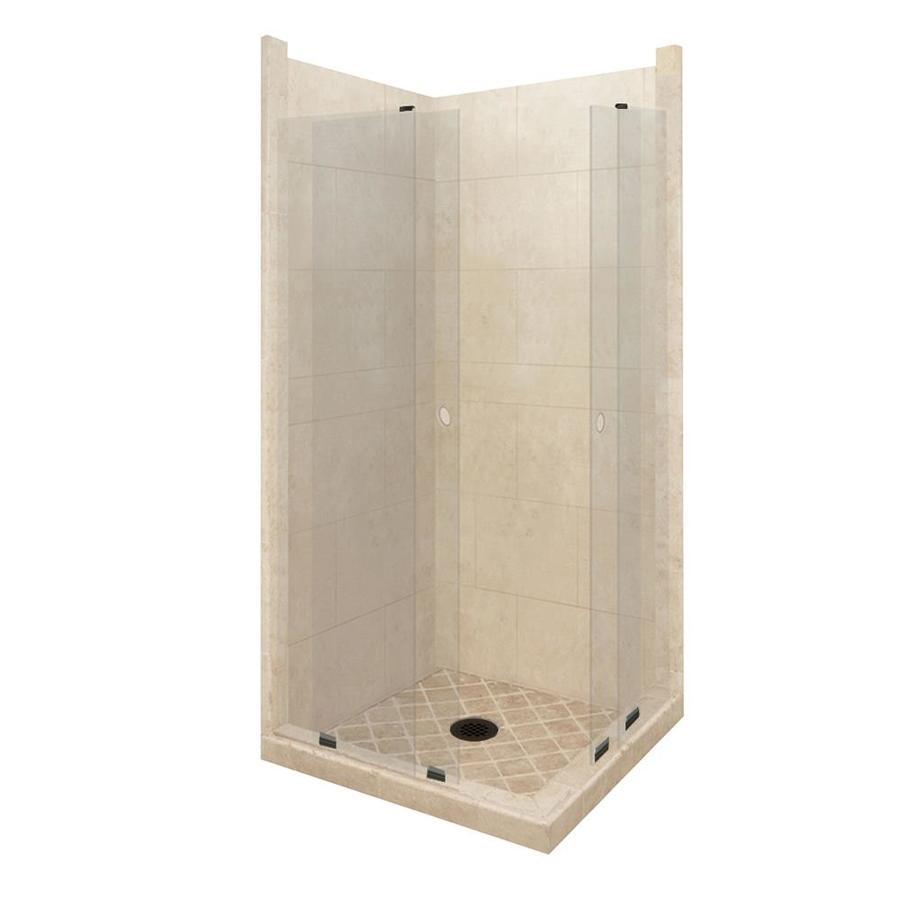 American Bath Factory Sonoma Medium Sistine Stone Wall Stone Composite Floor Rectangle 11-Piece Corner Shower Kit (Actual: 80-in x 42-in x 48-in)