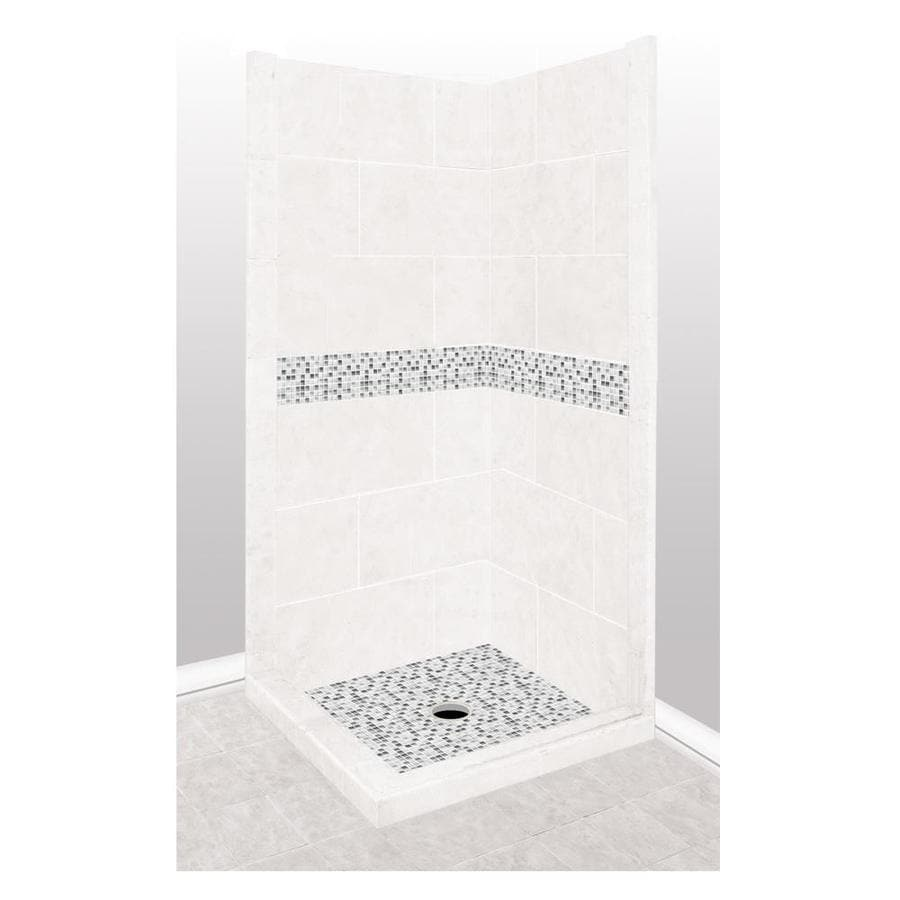 American Bath Factory Laguna Light with Laguna Mosaic Tiles Sistine Stone Wall Stone Composite Floor Rectangle 7-Piece Corner Shower Kit (Actual: 80-in x 36-in x 36-in)