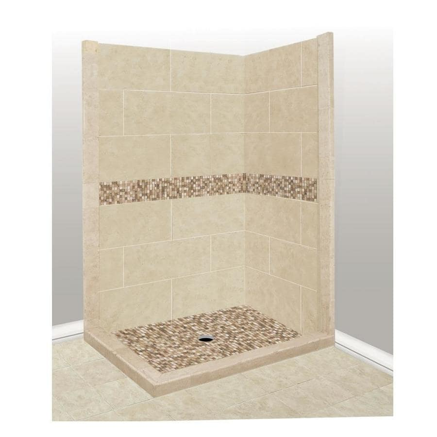 American Bath Factory Mesa Medium with Mesa Mosaic Tiles Sistine Stone Wall Stone Composite Floor Rectangle 7-Piece Corner Shower Kit (Actual: 80-in x 36-in x 42-in)