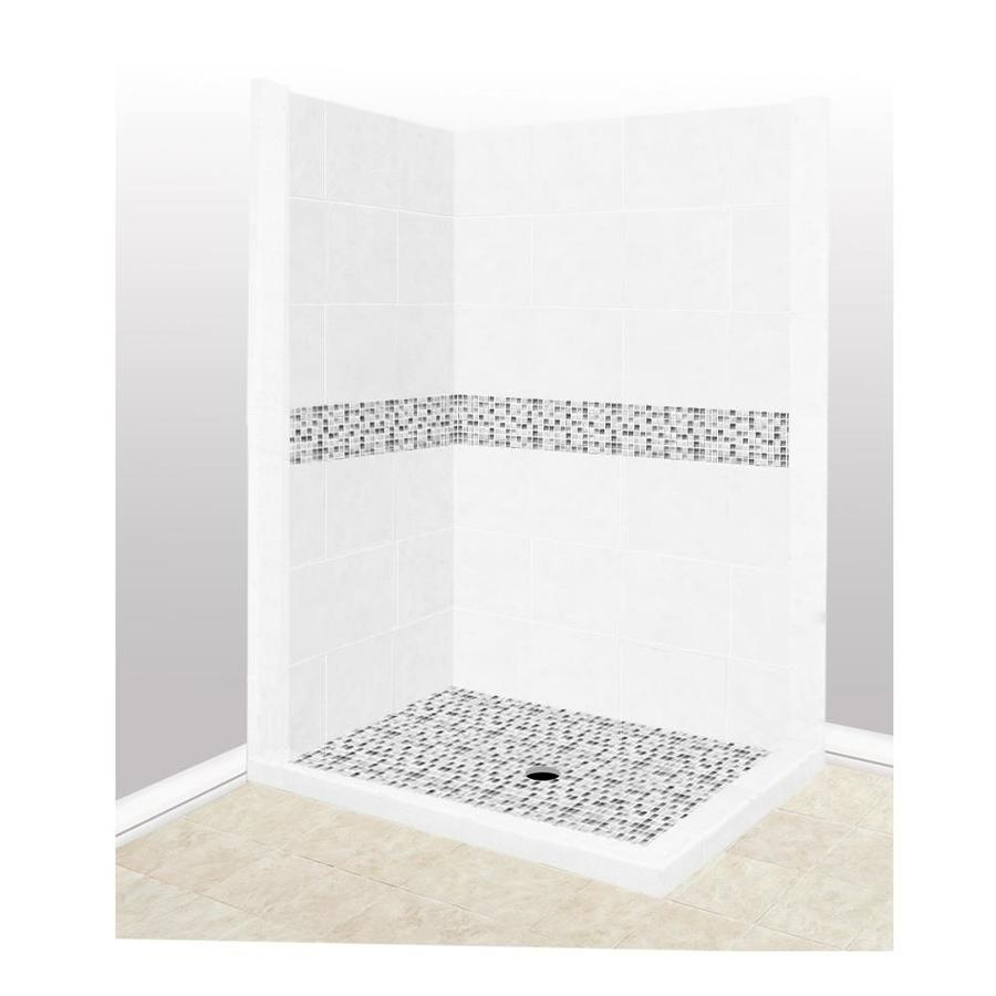 American Bath Factory Laguna Light with Laguna Mosaic Tiles Sistine Stone Wall Stone Composite Floor Rectangle 7-Piece Corner Shower Kit (Actual: 80-in x 36-in x 42-in)