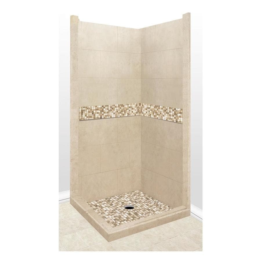 American Bath Factory Mesa Medium with Mesa Mosaic Tiles Sistine Stone Wall Stone Composite Floor Rectangle 7-Piece Corner Shower Kit (Actual: 80-in x 42-in x 42-in)