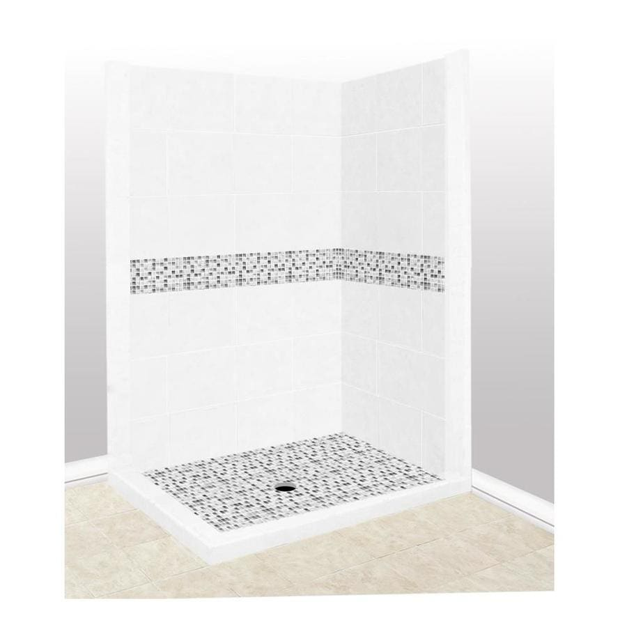 American Bath Factory Laguna Light with Laguna Mosaic Tiles Sistine Stone Wall Stone Composite Floor Rectangle 7-Piece Corner Shower Kit (Actual: 80-in x 42-in x 48-in)