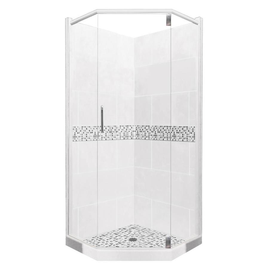 American Bath Factory Laguna Light with Laguna Mosaic Tiles Sistine Stone Wall Stone Composite Floor Neo-Angle 10-Piece Corner Shower Kit (Actual: 80-in x 38-in x 38-in)