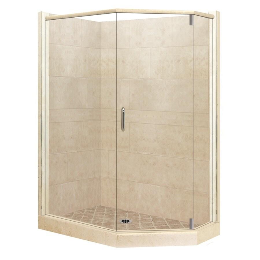 American Bath Factory Sonoma Medium Sistine Stone Wall Stone Composite Floor Neo-Angle 10-Piece Corner Shower Kit (Actual: 80-in x 36-in x 42-in)