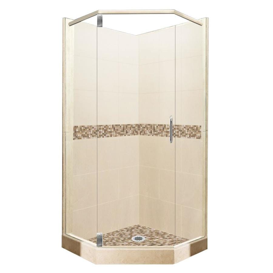 American Bath Factory Mesa Medium with Mesa Mosaic Tiles Sistine Stone Wall Stone Composite Floor Neo-Angle 10-Piece Corner Shower Kit (Actual: 80-in x 42-in x 42-in)
