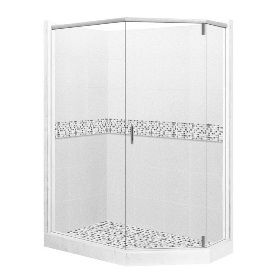 American Bath Factory Laguna Light with Laguna Mosaic Tiles Sistine Stone Wall Stone Composite Floor Neo-Angle 10-Piece Corner Shower Kit (Actual: 80-in x 36-in x 48-in)