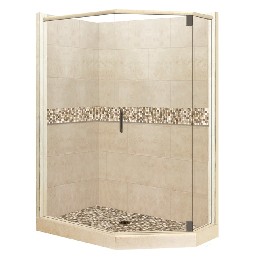 American Bath Factory Mesa Medium with Mesa Mosaic Tiles Sistine Stone Wall Stone Composite Floor Neo-Angle 10-Piece Corner Shower Kit (Actual: 80-in x 32-in x 36-in)