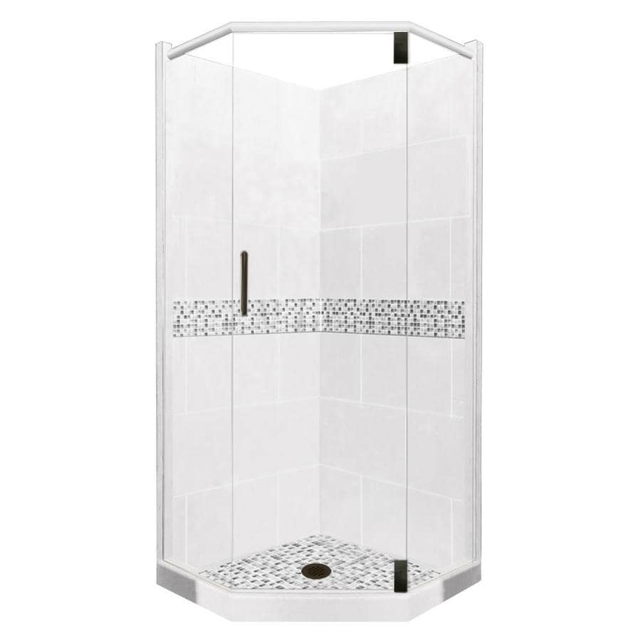 Laguna Light with Laguna Mosaic Tiles Sistine Stone Wall Stone Composite Floor Neo-Angle 10-Piece Corner Shower Kit (Actual: 80-in x 36-in x 36-in) Product Photo