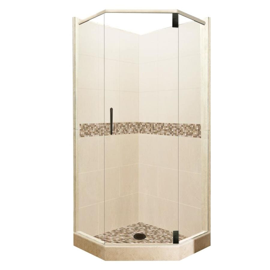 American Bath Factory Mesa Medium with Mesa Mosaic Tiles Sistine Stone Wall Stone Composite Floor Neo-Angle 10-Piece Corner Shower Kit (Actual: 80-in x 36-in x 36-in)