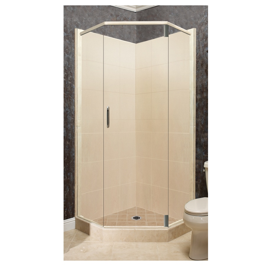 American Bath Factory Sonoma Medium Sistine Stone Wall Stone Composite Floor Neo-Angle 10-Piece Corner Shower Kit (Actual: 80-in x 38-in x 38-in)