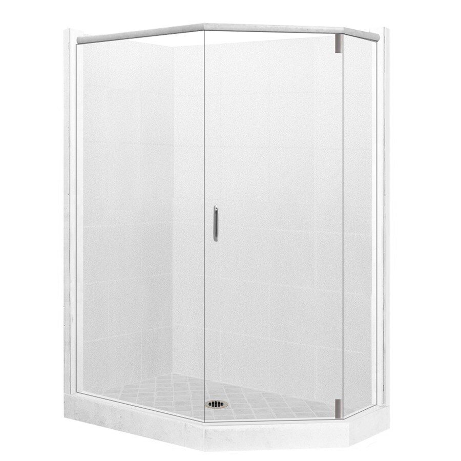 American Bath Factory Monterey Light Sistine Stone Wall Stone Composite Floor Neo-Angle 10-Piece Corner Shower Kit (Actual: 80-in x 36-in x 48-in)