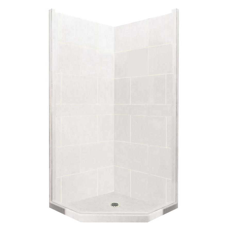 American Bath Factory Monterey Light Sistine Stone Wall Stone Composite Floor Neo-Angle 7-Piece Corner Shower Kit (Actual: 80-in x 36-in x 36-in)