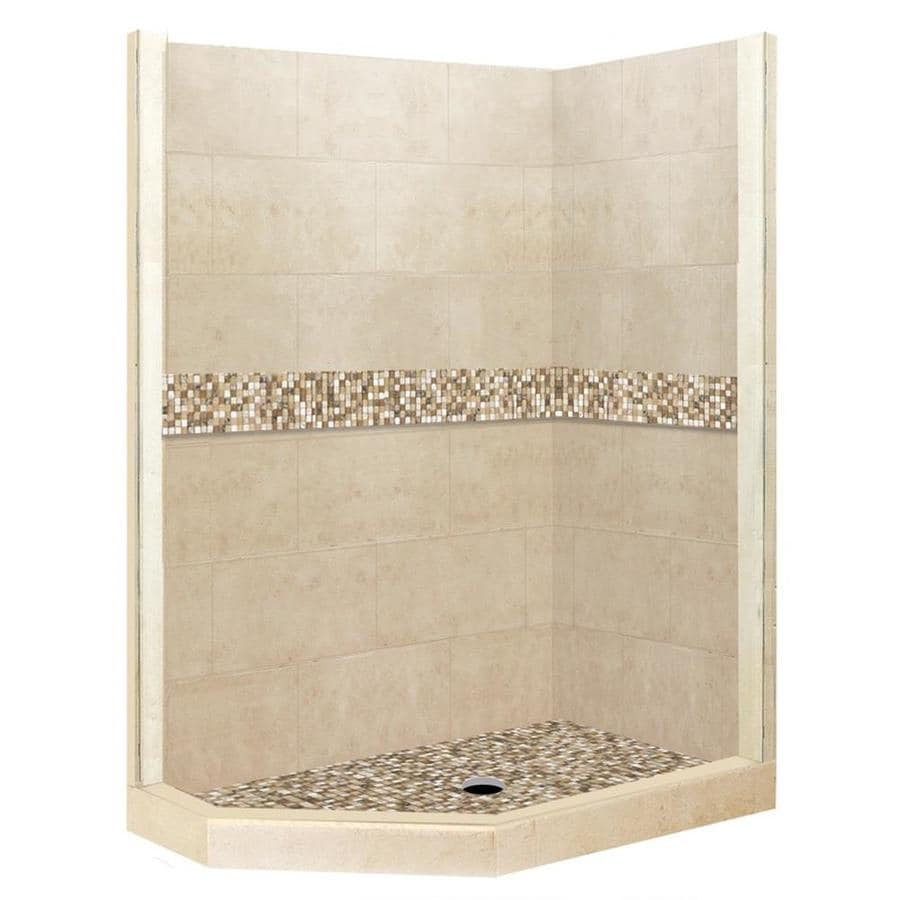 American Bath Factory Mesa Medium with Mesa Mosaic Tiles Sistine Stone Wall Stone Composite Floor Neo-Angle 7-Piece Corner Shower Kit (Actual: 80-in x 36-in x 42-in)