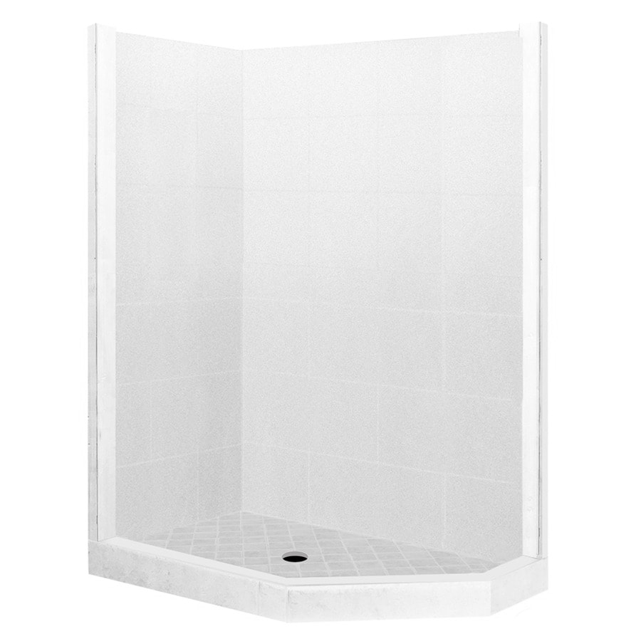 American Bath Factory Monterey Light Sistine Stone Wall Stone Composite Floor Neo-Angle 7-Piece Corner Shower Kit (Actual: 80-in x 36-in x 42-in)