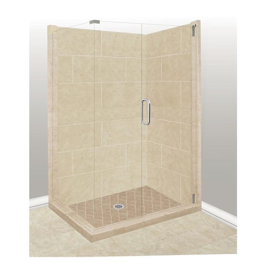 American Bath Factory Sonoma Medium Sistine Stone Wall Stone Composite Floor Rectangle 10-Piece Corner Shower Kit (Actual: 80-in x 36-in x 42-in)