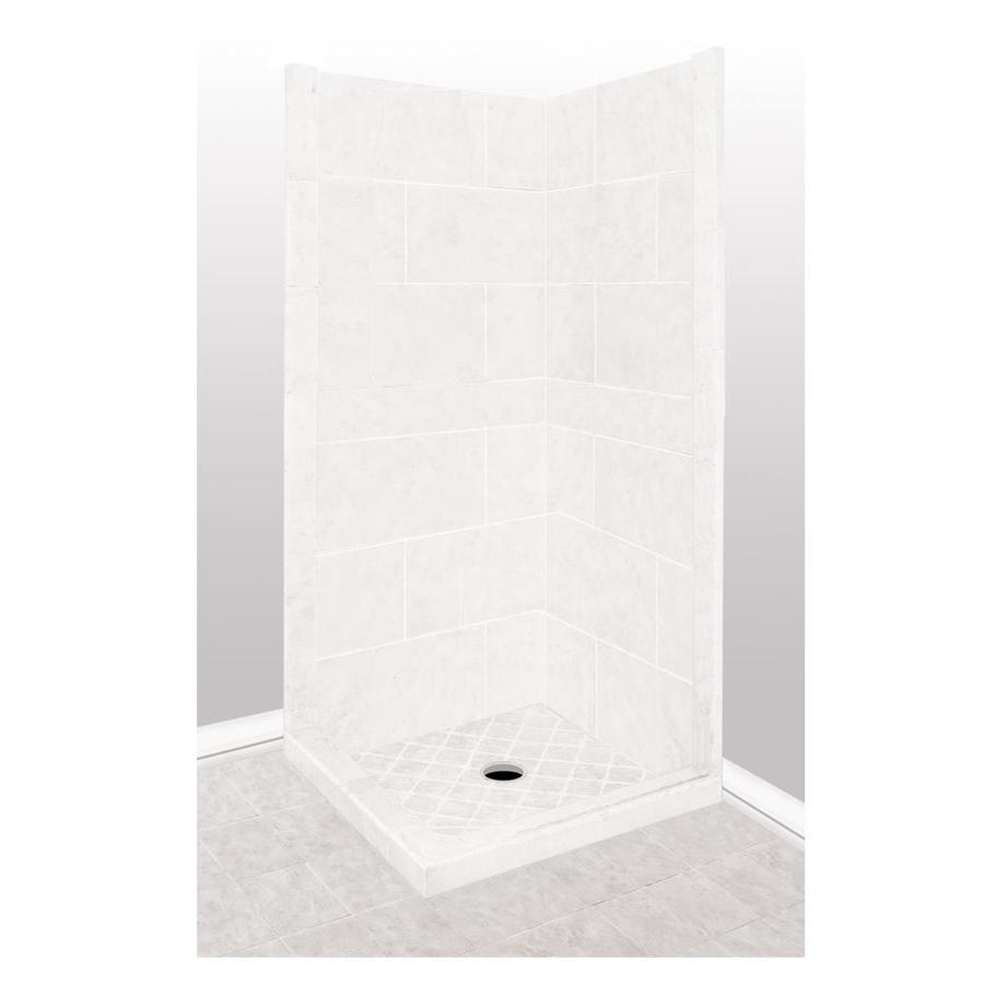 American Bath Factory Monterey Light Sistine Stone Wall Stone Composite Floor Rectangle 7-Piece Corner Shower Kit (Actual: 80-in x 38-in x 38-in)