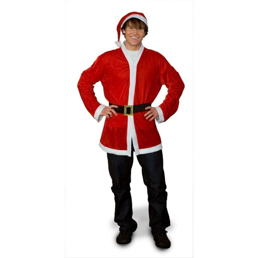 One Size Fits Most Red Polyester Santa Claus Suit