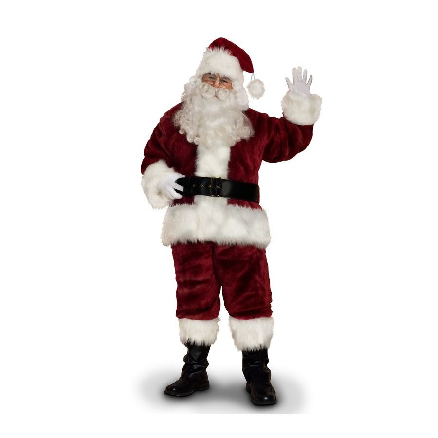X-Large Burgundy Polyester Santa Claus Suit
