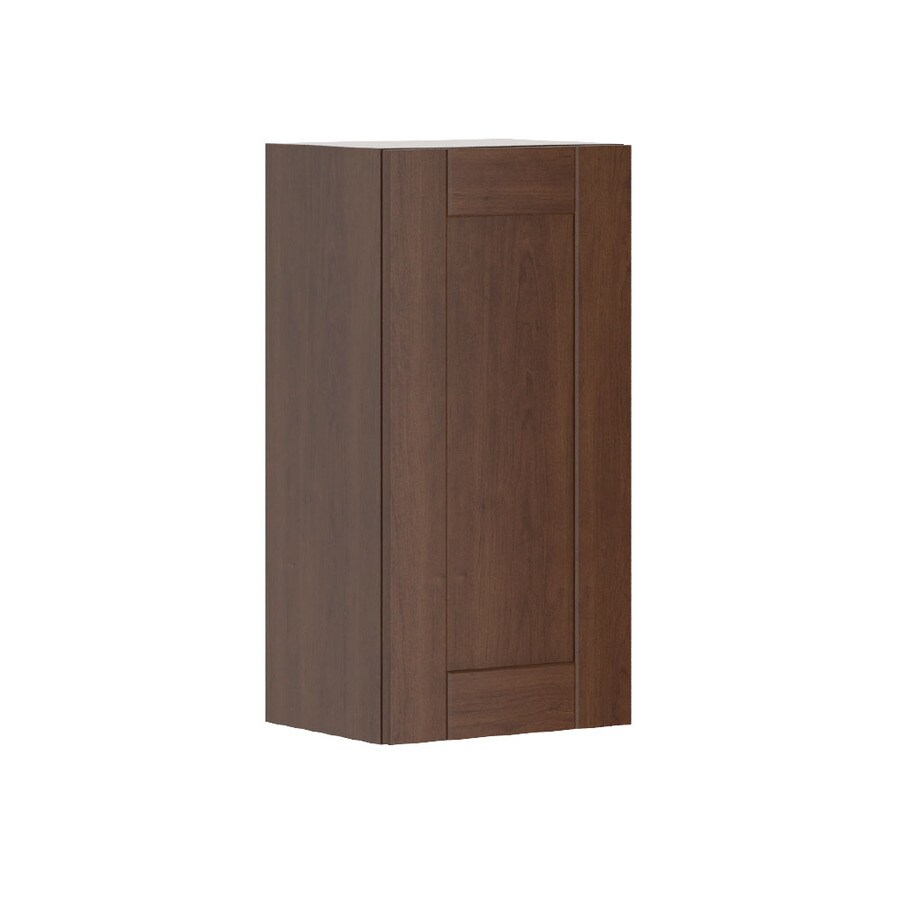 K Collection 15.125-in W x 30.25-in H x 11.625-in D Stained Kaleo Birch Shaker Door Wall Cabinet