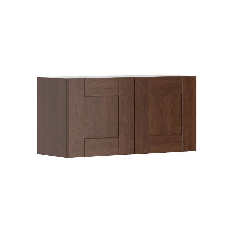 K Collection 30.25-in W x 15.125-in H x 11.625-in D Stained Kaleo Birch Shaker Door Wall Cabinet