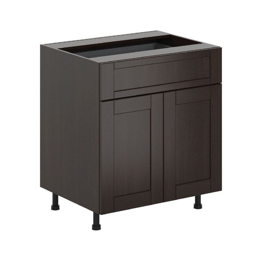 K Collection 30.25-in W x 34.5-in H x 23.625-in D Stained Kentia Birch Shaker Door and Drawer Base Cabinet