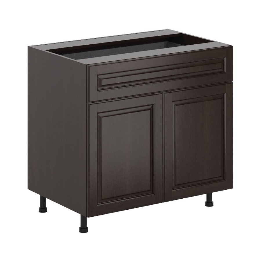 K Collection 35.875-in W x 34.5-in H x 23.625-in D Stained Kira Birch Door and Drawer Base Cabinet