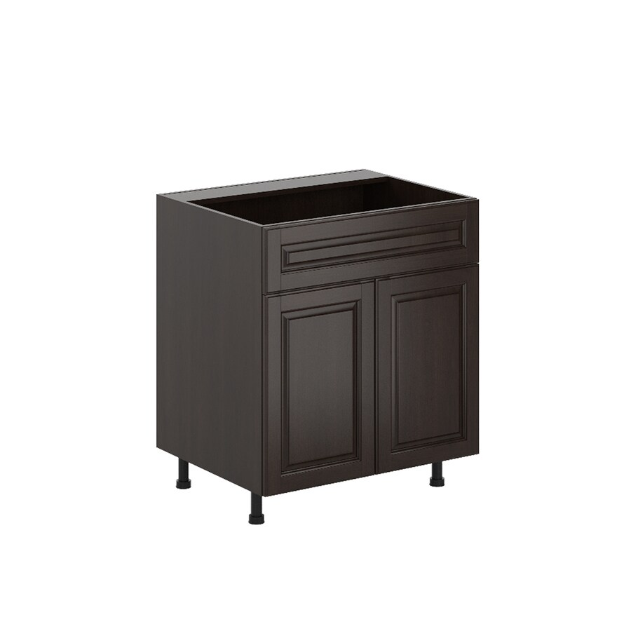 K Collection 30.25-in W x 34.5-in H x 23.625-in D Stained Kira Birch Sink Base Cabinet
