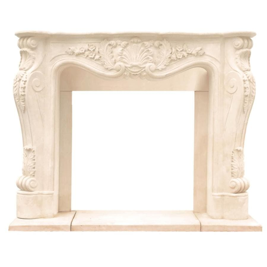 HISTORIC MANTELS LIMITED Chateau 62-in W x 50-in H Distressed Ivory Traditional Fireplace Surround