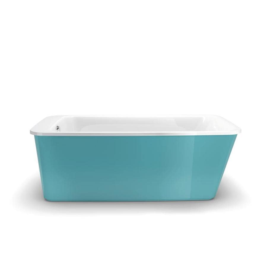 MAAX Lounge Aqua Gelcoat and Fiberglass Rectangular Skirted Bathtub with Reversible Drain (Common: 34-in x 60-in; Actual: 22.25-in x 34-in x 64-in)