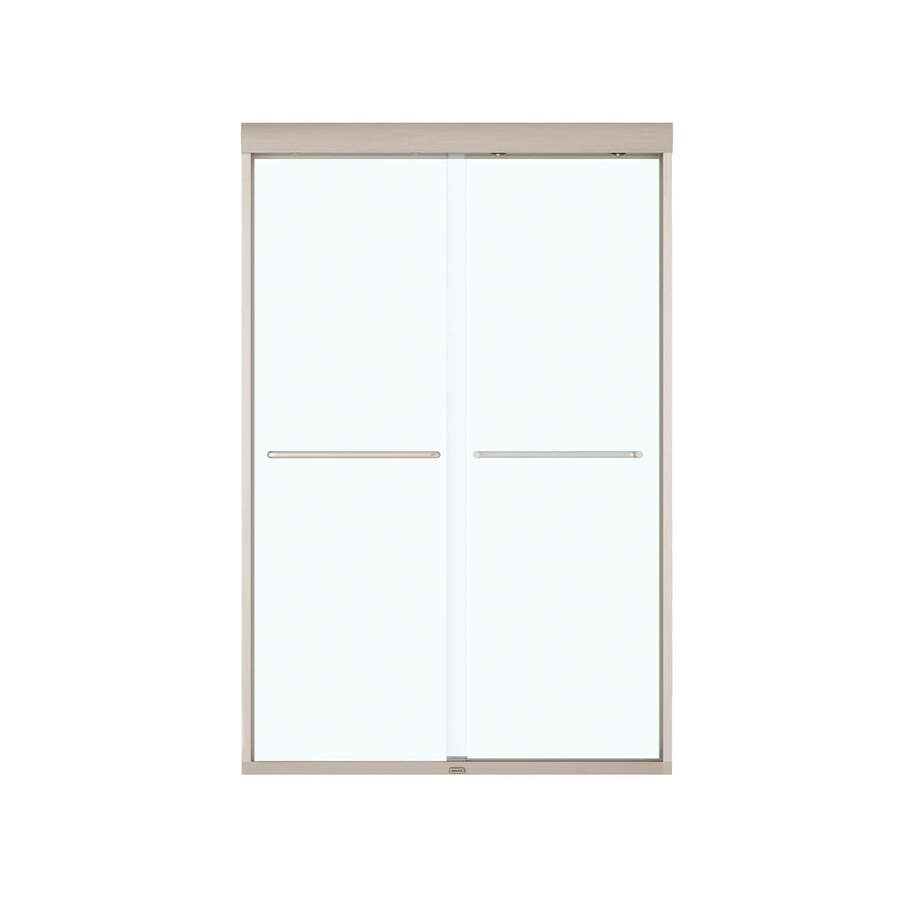 MAAX Aura 43-in to 47-in W x 71-in H Brushed Nickel Sliding Shower Door