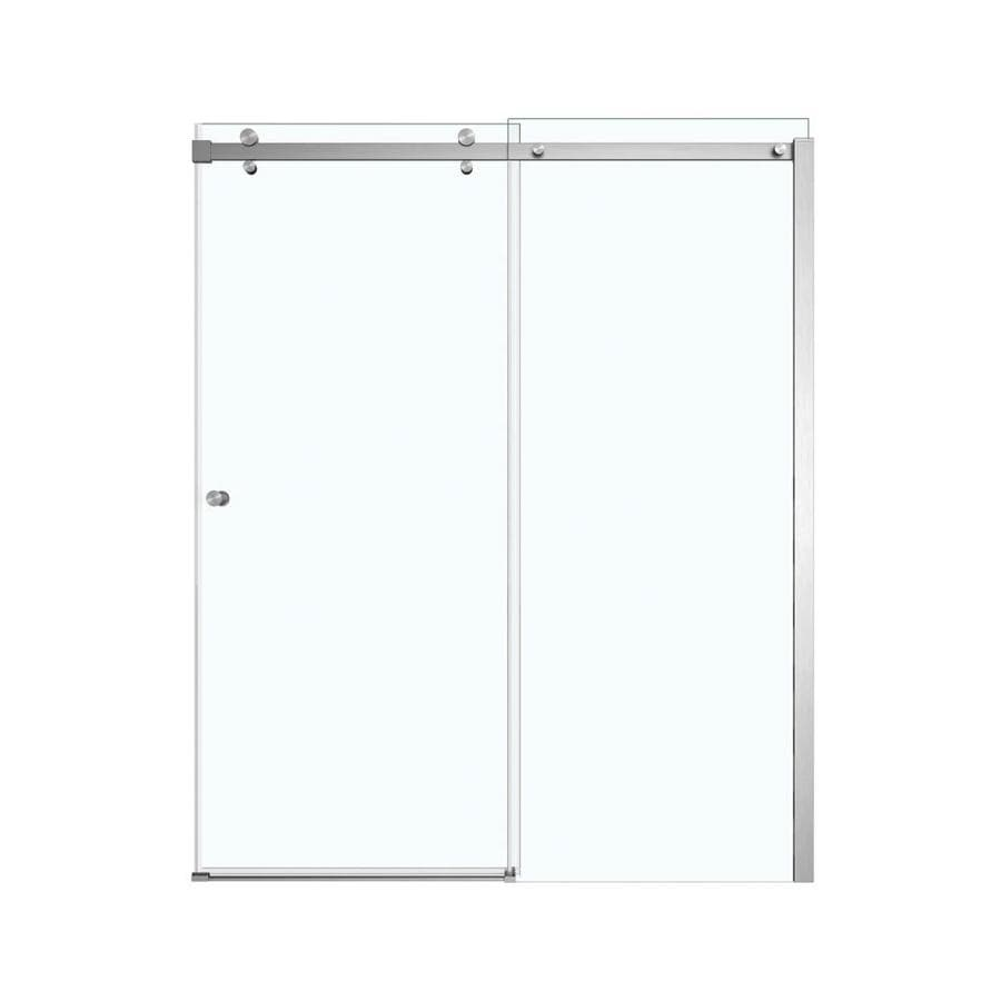 MAAX Luminescence 56.5-in to 59-in W x 70.5-in H Brushed Nickel Sliding Shower Door