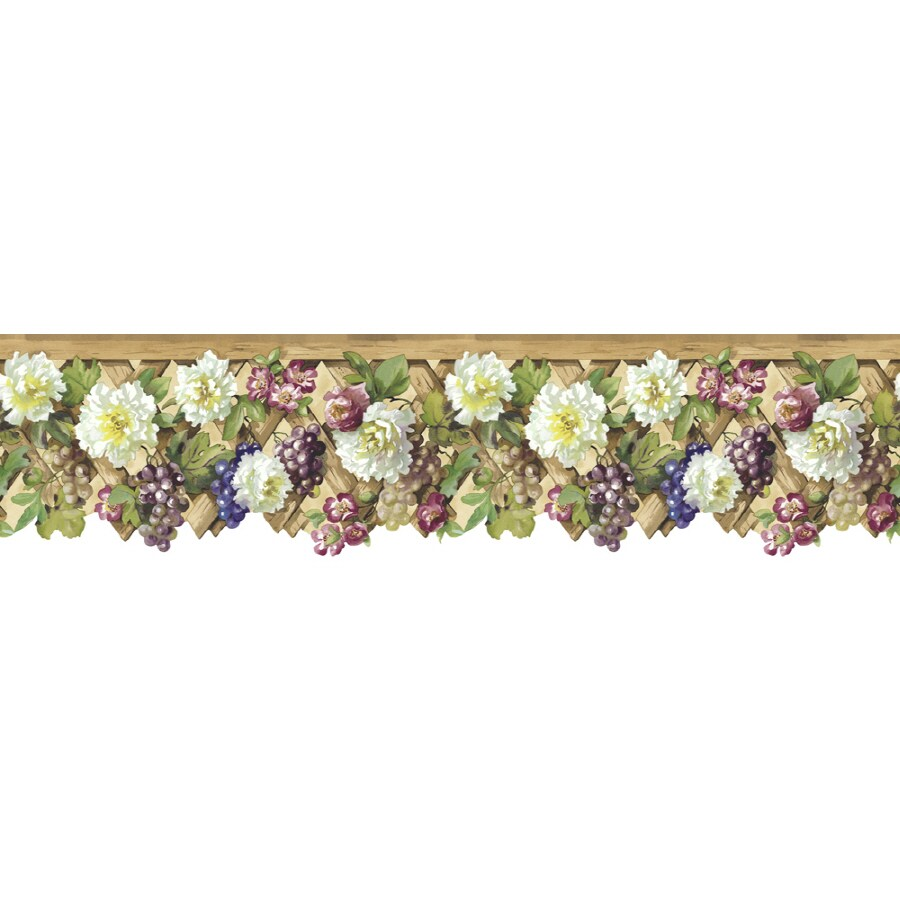 "Shop Sunworthy 5-1/4"" Floral Lattice Prepasted Wallpaper"