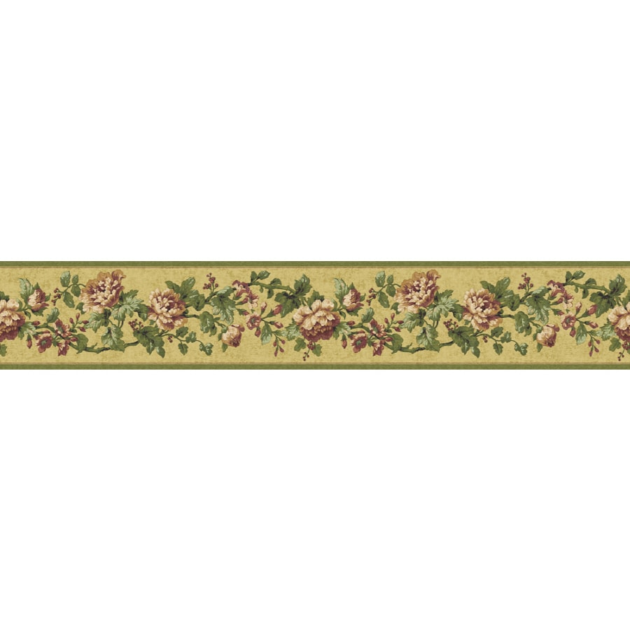 Shop sunworthy 4 1 8 floral document prepasted wallpaper for Wallpaper lowe s home improvement