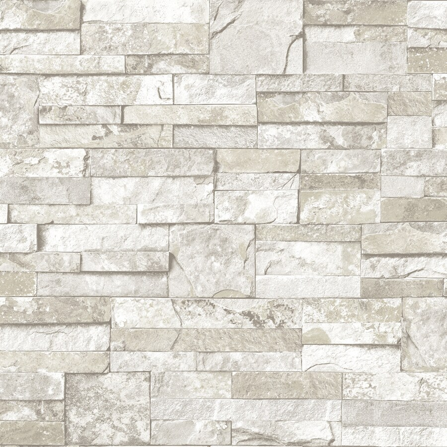 Shop allen roth white and gray peelable vinyl prepasted for Grey brick wallpaper bedroom