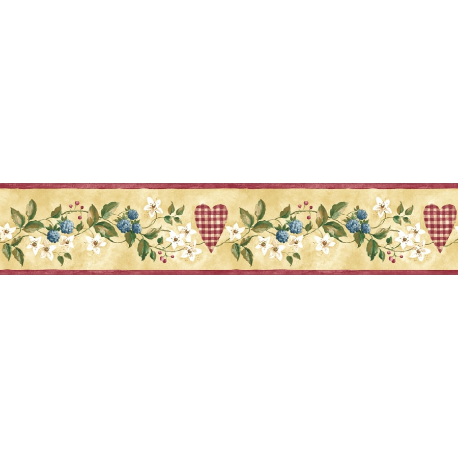 Shop sunworthy 4 1 8 hearts floral trail prepasted for Prepasted wallpaper